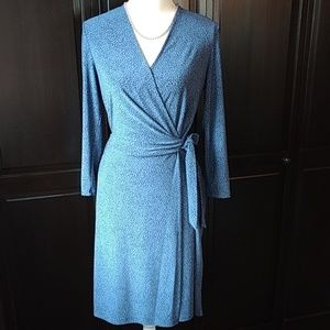 Anne Klein Wrap Dress, Long sleeve, dot print, med